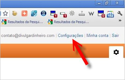 menu configurações google analytics