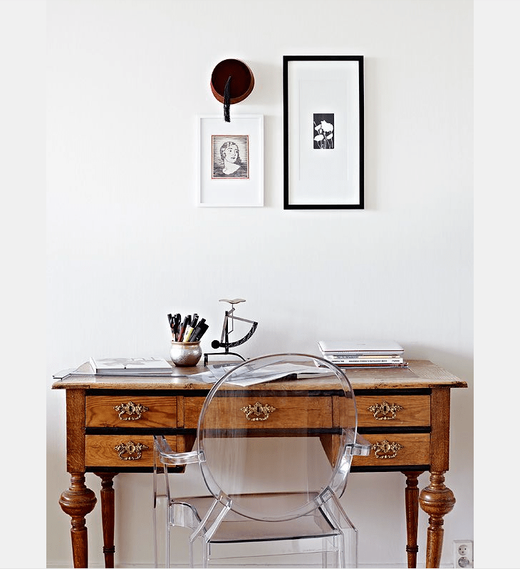 stadshem.se ghost chair with antique desk