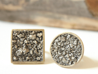 pyrite jewelry round square
