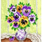 Pansies cross stitch free pattern
