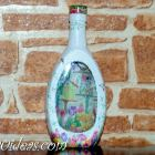 Reverse decoupage bottle