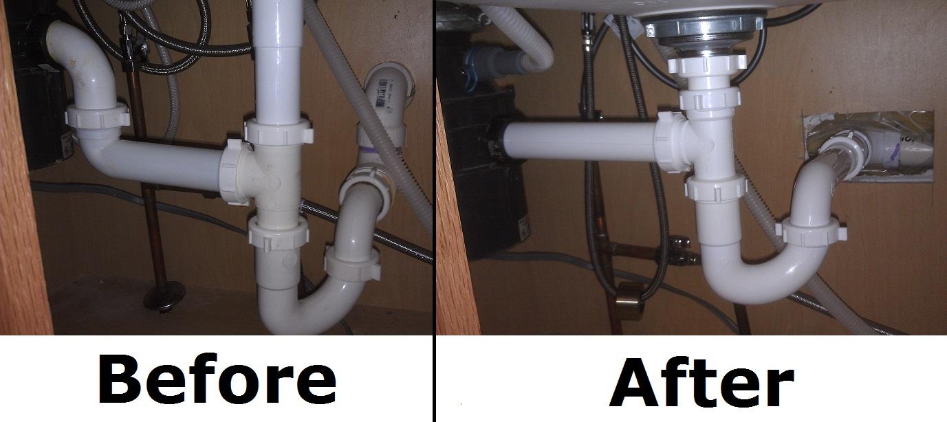 replumbing an improper trap kitchen sink plumbing BeforeAndAfter