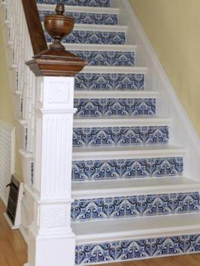 Ideas for Embellishing Stairs with Wallpaper or Tile | DIY