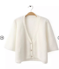 Pure White V Neck Single Three Buttons Crop Knit Cardigan http://www.nextshe.com/pure-white-v-neck-single-three-buttons-crop-knit-cardigan-p-12593.html