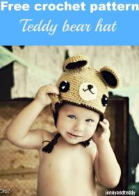 Teddy bear hat free crochet pattern