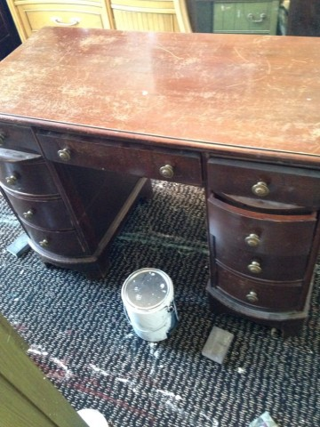 (Before) Formal to Floral Decoupage Desk Makeover - by Restoration Redoux