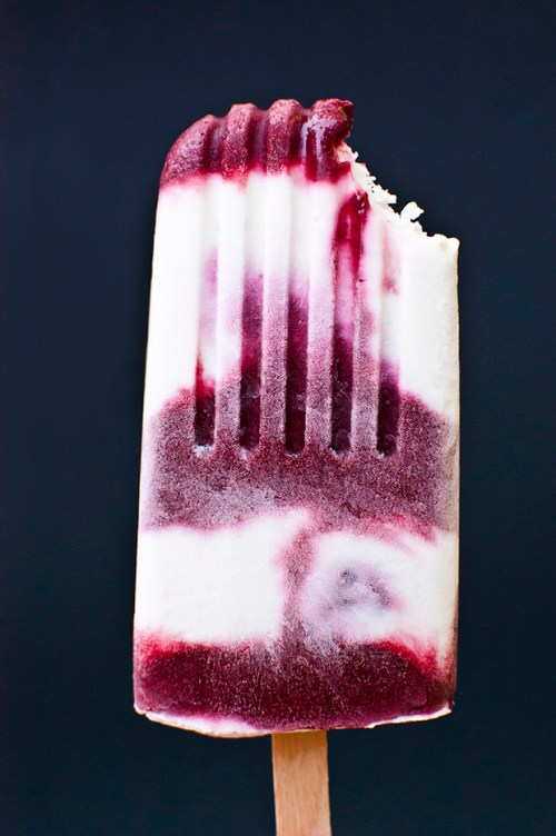 Combine blackberries, limes, and coconut milk to make these delicious popsicles.