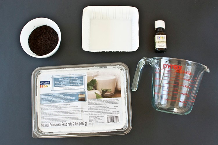 DIY exfoliating mint coffee soap