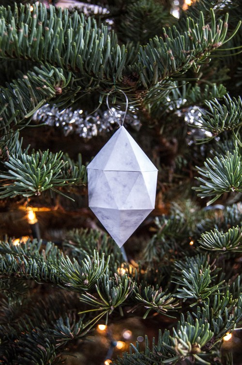Learn how to make geometric marble gem ornaments for your tree