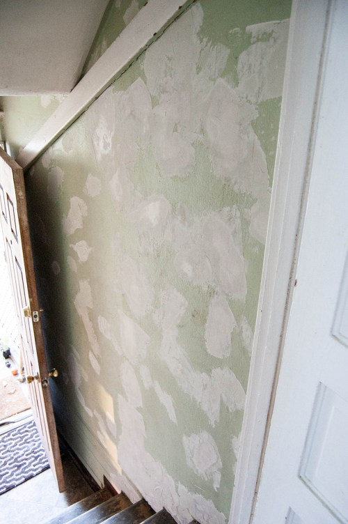 Painted black and white stairway makeover progress