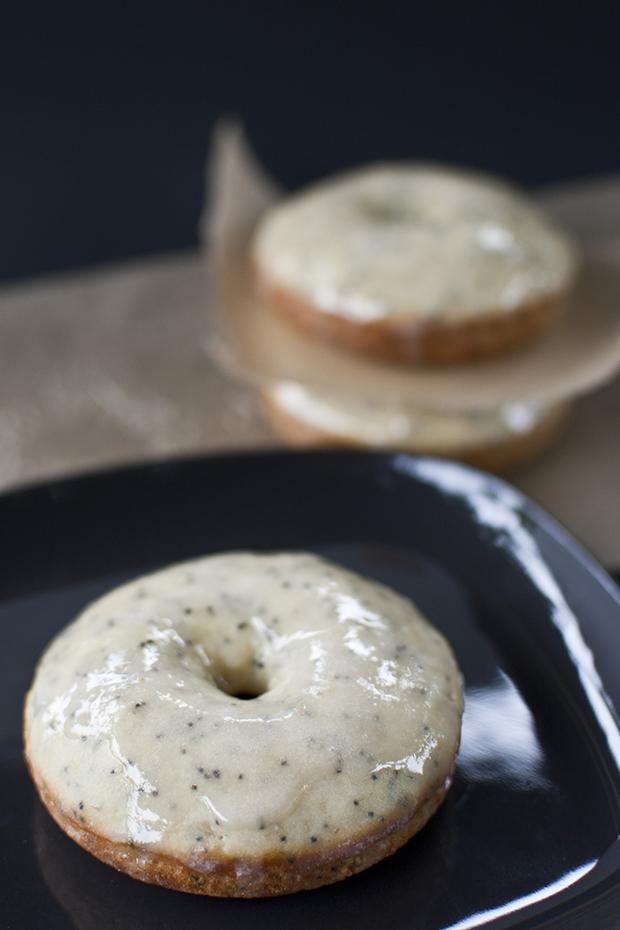 Baked Lemon Poppyseed Donuts with Rhubarb Glaze