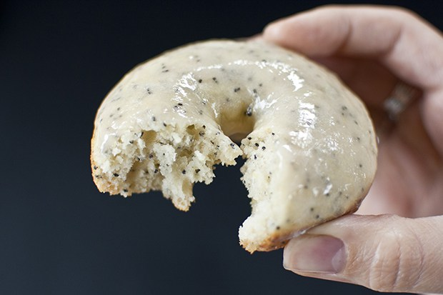 Baked Lemon Poppyseed Donuts with Rhubarb Glaze