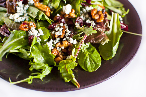 spiced maple glazed walnuts + salad with blue cheese, walnuts, and cranberries
