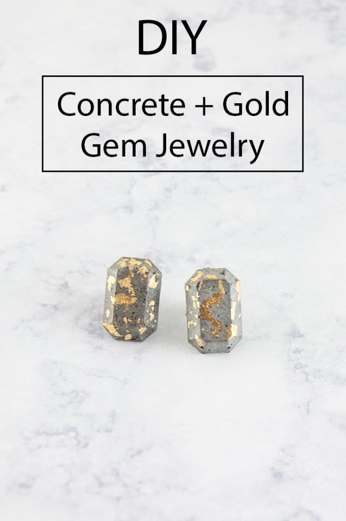 DIY concrete + gold gem jewlery