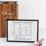 Free printable kitchen measurement conversion chart - Keep kitchen measurement conversions handy with this minimalist chart.