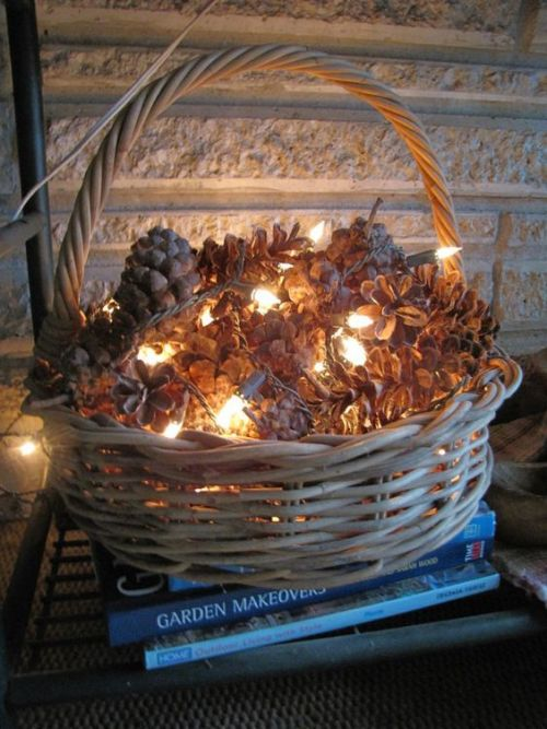 Simple DIY holiday decor ideas using white lights: pinecones + basket + lights