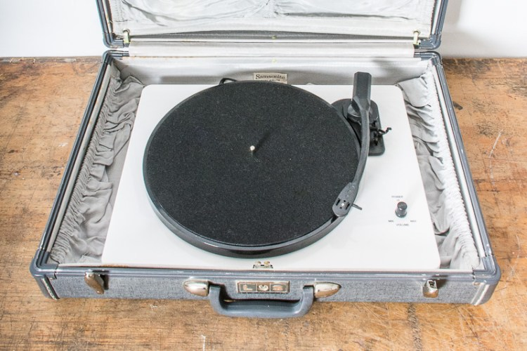 How to convert a vintage suitcase to hold a record player