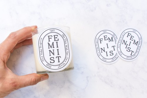 Stick these free printable feminist candle labels to the candle of your choice, and get a designer-candle look that makes a statement.