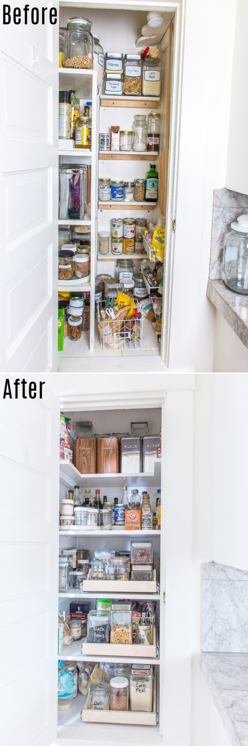 Have a deep, awkward pantry or cabinet? Add pull-out drawers!