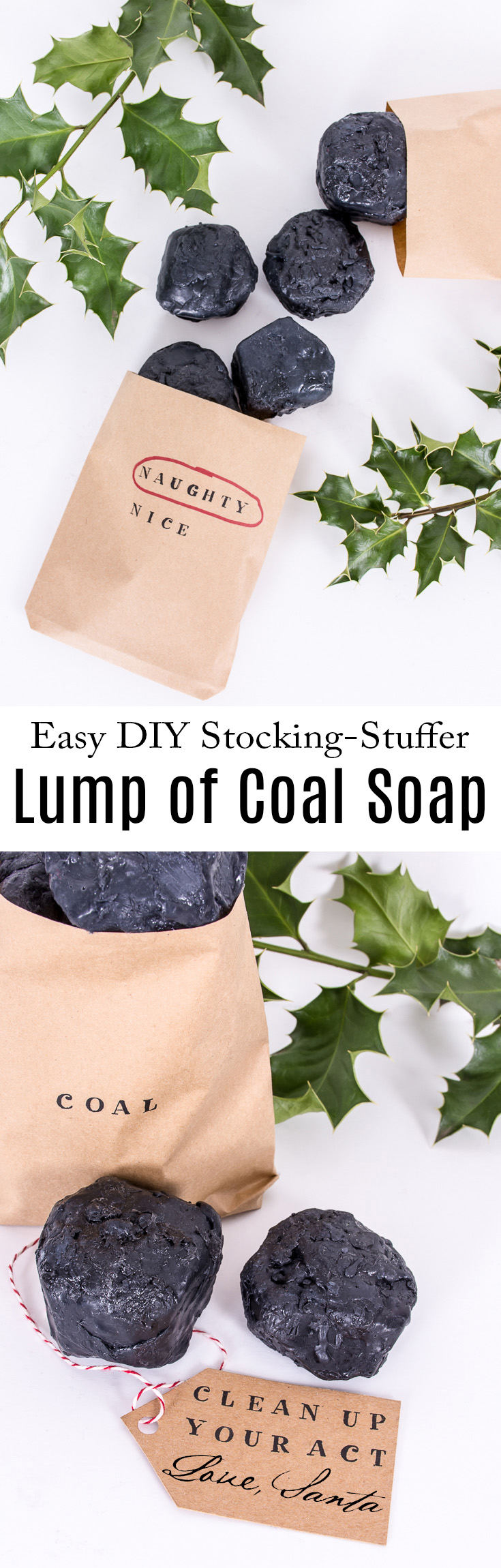 Make this lump of coal soap for that person who made it onto Santa's naughty list this year. #DIY #gift #holidays #Christmas #soap #DIYGift