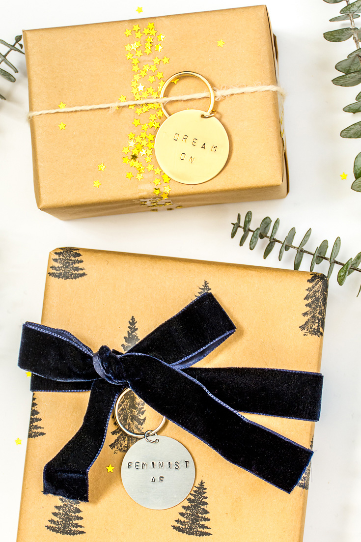 Make wood or metal key ring gift tags for an extra little gift that does double-duty. #gifts #holidays #christmas #DIY