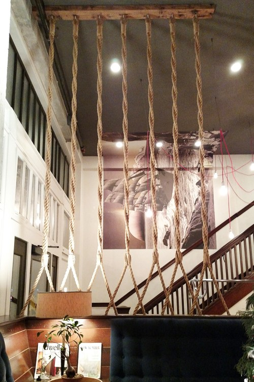 Commodore Hotel lobby rope divider