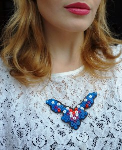 Hama bead necklace blue