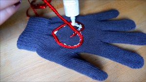 Upcycle a pair of cheap gloves with fabric glue and sequins