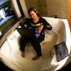 "FBF Flashback Friday...2013 reading Nile's memoir in a suite in Seattle, getting inspired to mix ""Chic Cheer"" and ""Love Like This"" by Faith Evans in an empty hot tub because I needed better sound and had no speakers. Nothing odd about that, right??? Hahahaha"