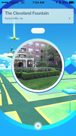 Pokemon Go at fountain in New York