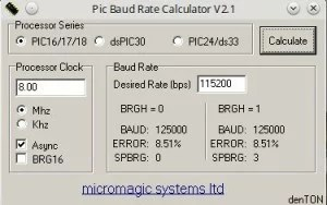 Baud rate a 115200