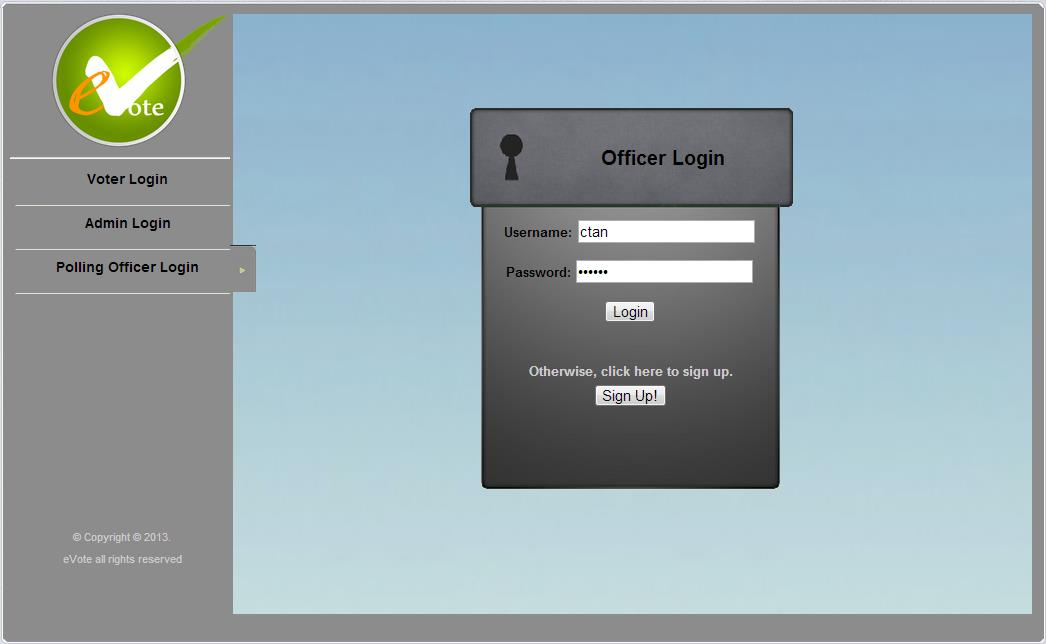 A Secure Electronic Voting Software Application based on Image     Figure 6 12  Screenshot of voter homepage upon successful registration  b   Authentication