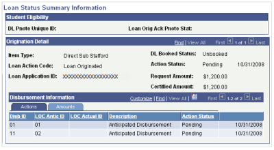 Originating Direct Loans and Viewing Loan Status Summary Information