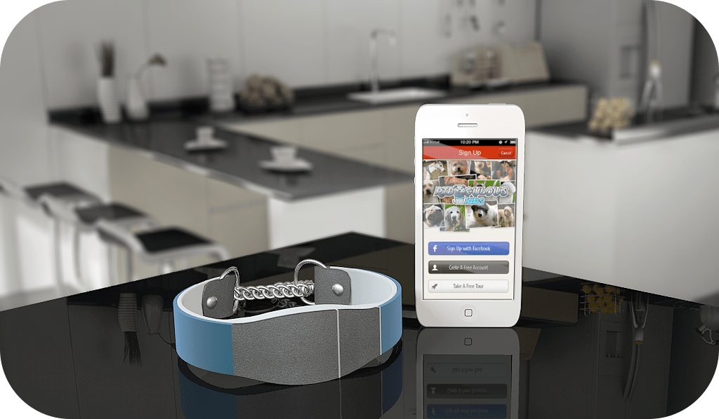 The Smart Collar integrates with your smartphone.