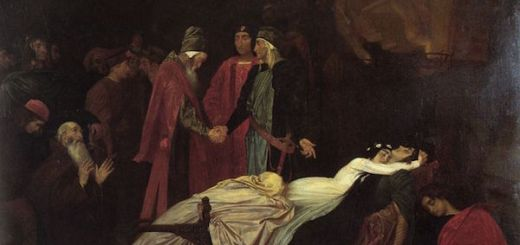 The Reconciliation of the Montagues and Capulets over the bodies of Romeo and Juliet by Frederick Leighton