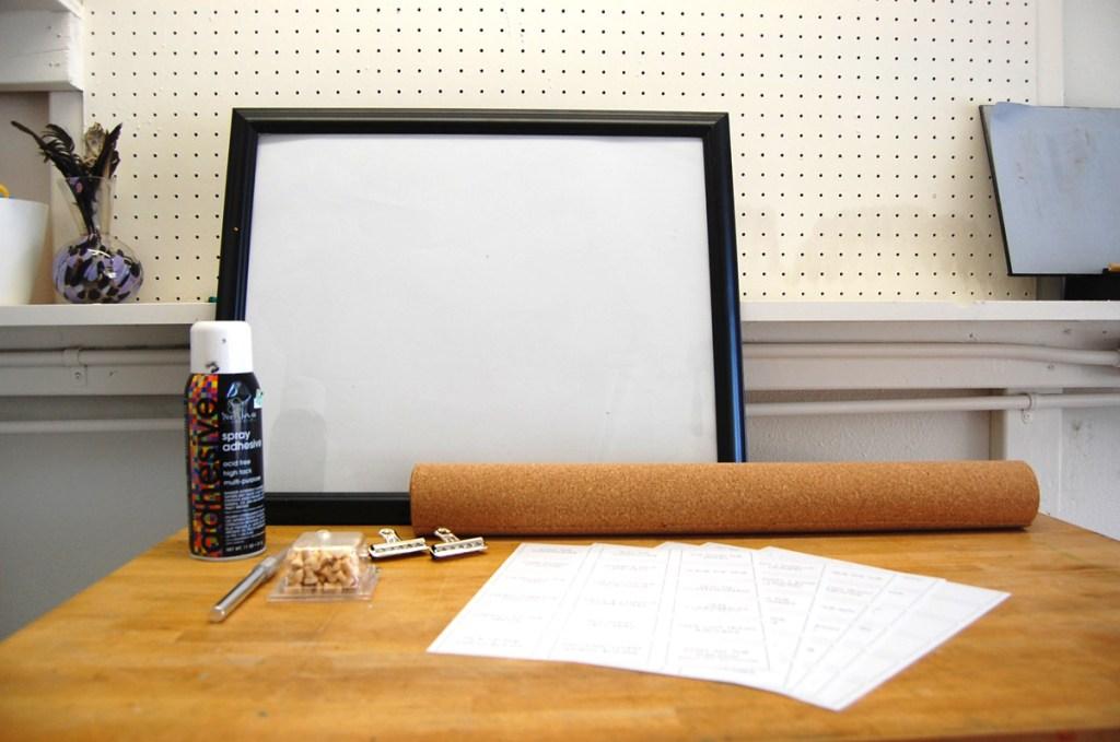 T01 - Corkboard Chore Chart Materials
