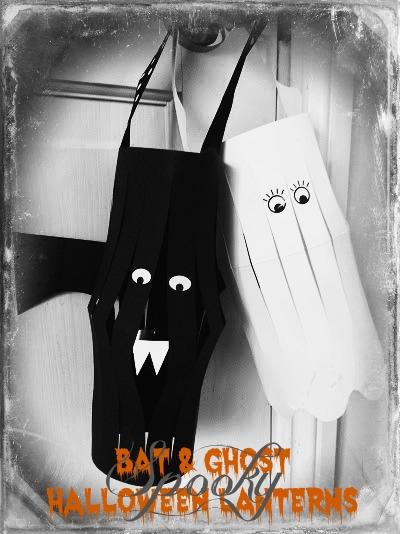 bat and ghost paper halloween lantern