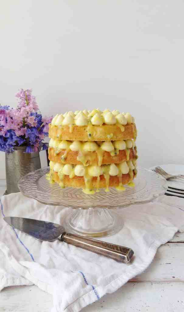 Passion fruit, coconut & white chocolate layer cake