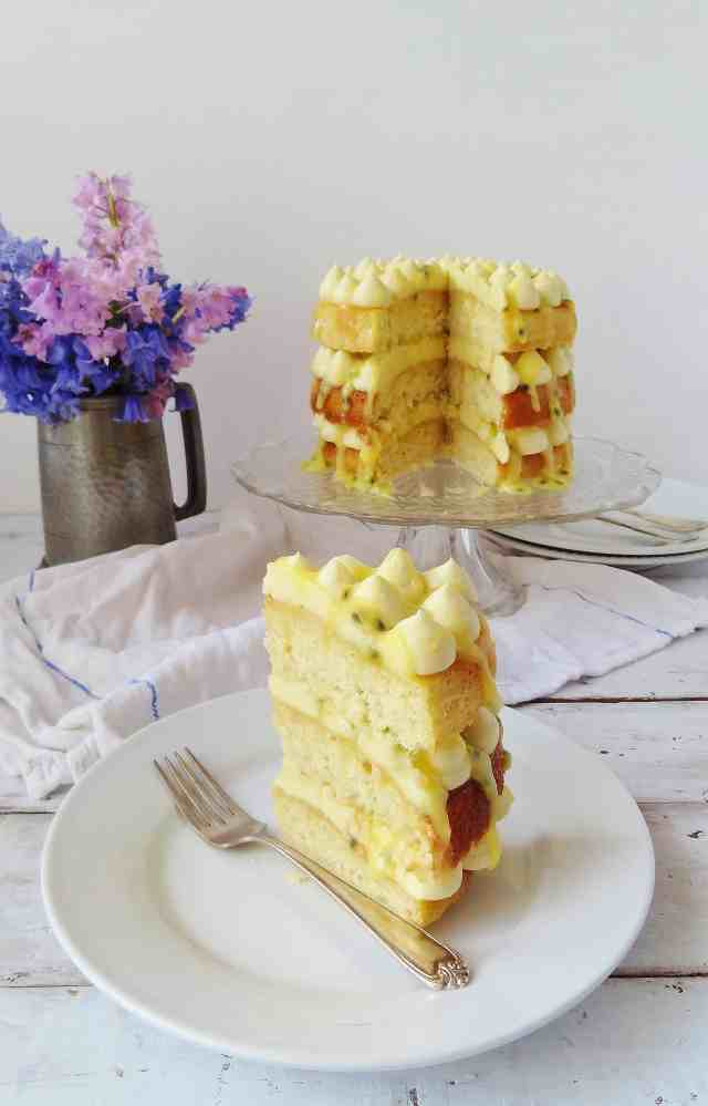 White chocolate, passion fruit and coconut cake