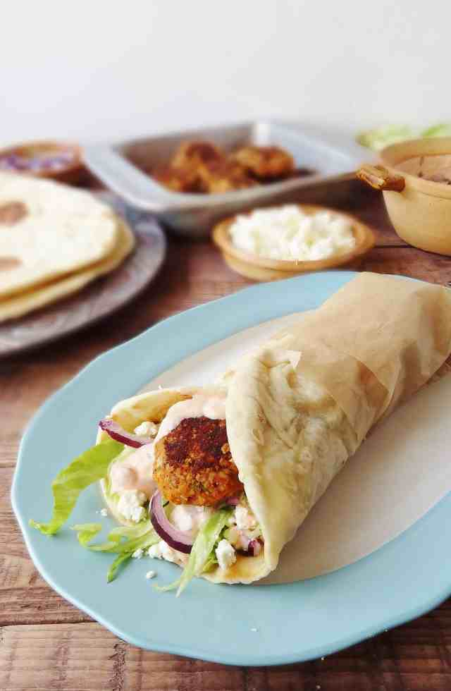 Vegetarian red lentil kofte with flatbreads & harissa yoghurt - Domestic Gothess