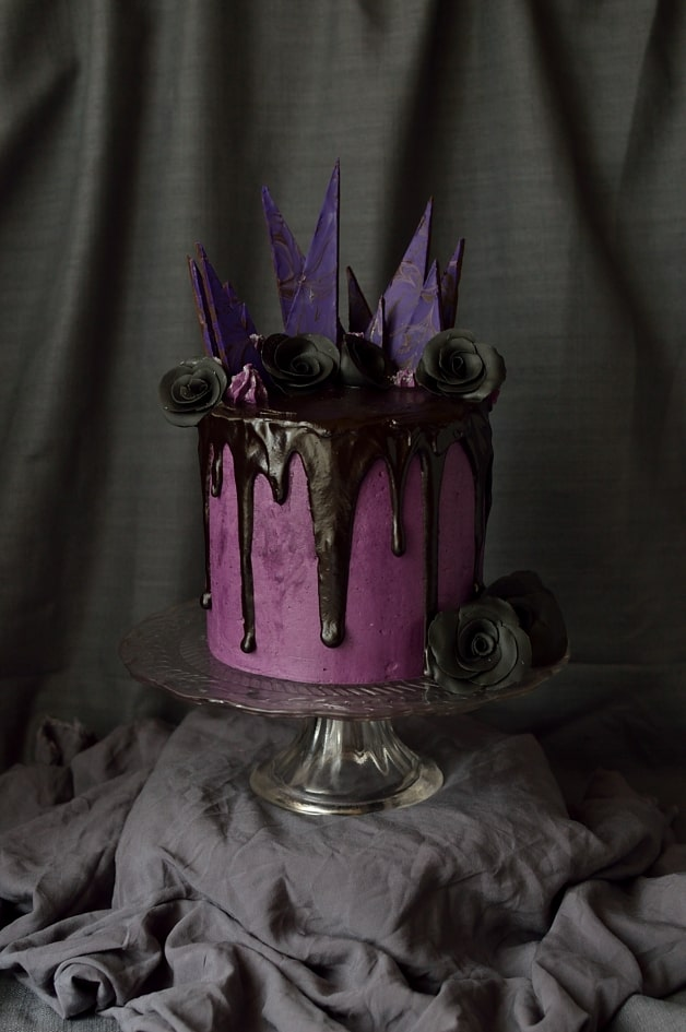 Chocolate and blackberry Halloween cake; three layers of moist chocolate cake with blackberry jam, swiss meringue buttercream and ganache