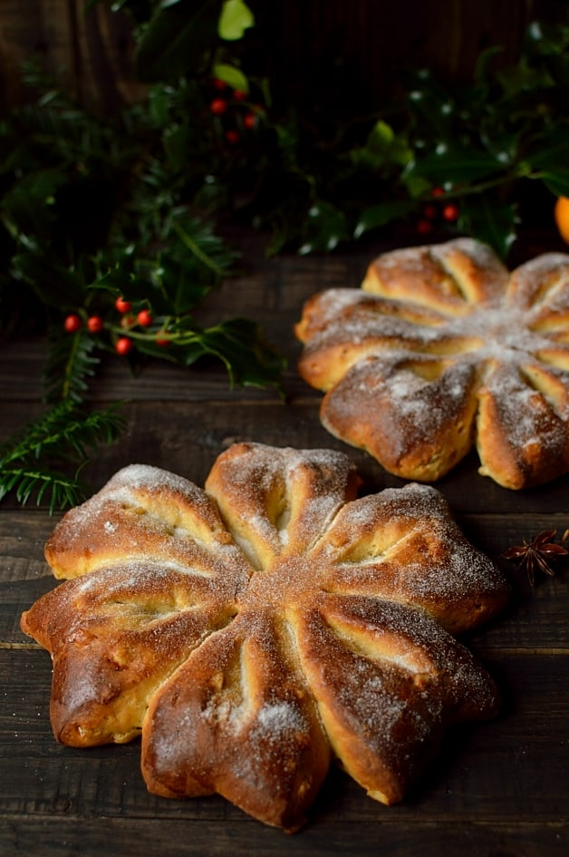 Orange and anise snowflake bread, perfect for Christmas.