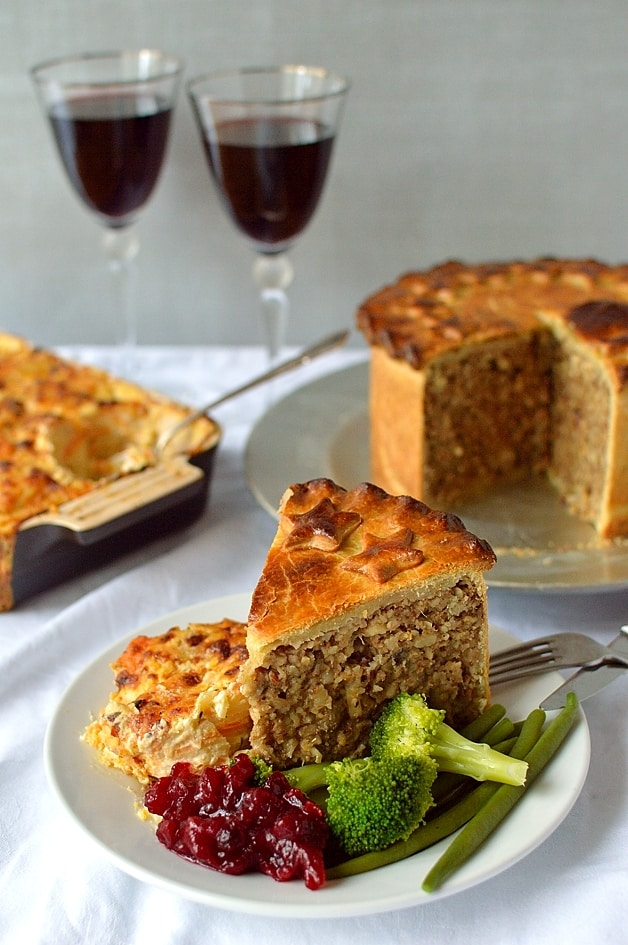 Vegetarian nut roast pie, the perfect festive centerpiece - Domestic Gothess