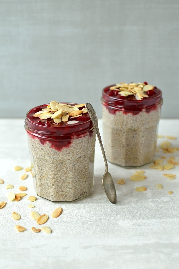 Almond milk, honey and vanilla chia pudding with a quick cherry compote and toasted flaked almonds. It is a super healthy, nutrient-packed make-ahead breakfast that is delicious too!