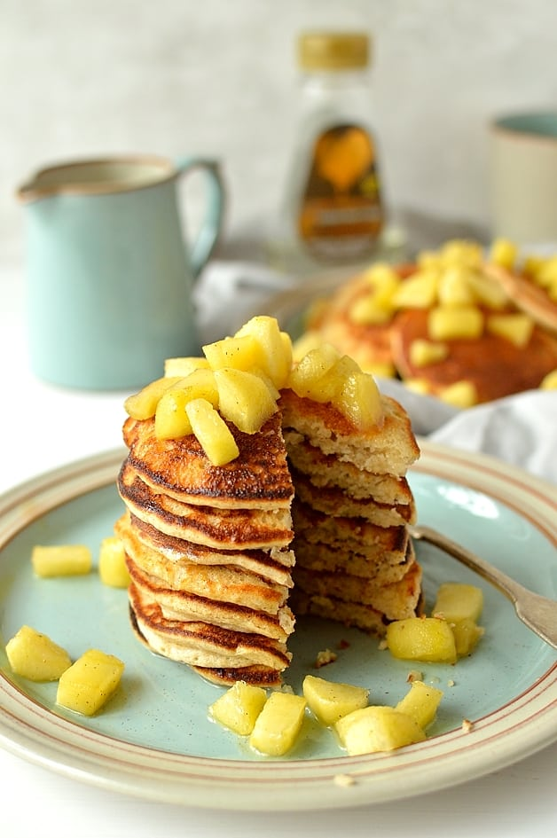 Oatmeal spelt pancakes with cinnamon apples - light, fluffy, soft refined sugar-free pancakes made with oats & spelt flour & sweetened with carob syrup