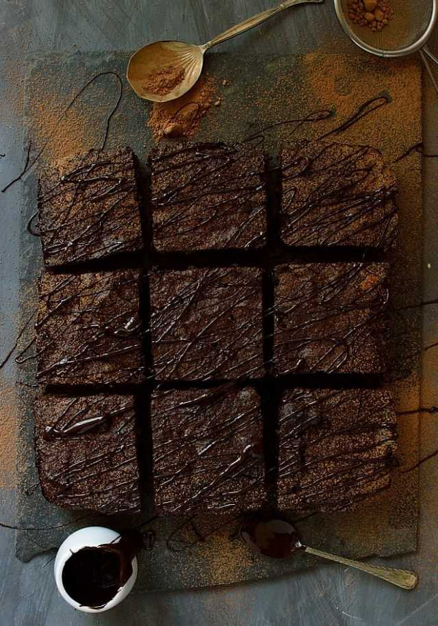 Dense, fudgy, delicious healthier brownies made with coconut flour, cacao powder, honey & coconut oil - gluten, grain, dairy & refined sugar free