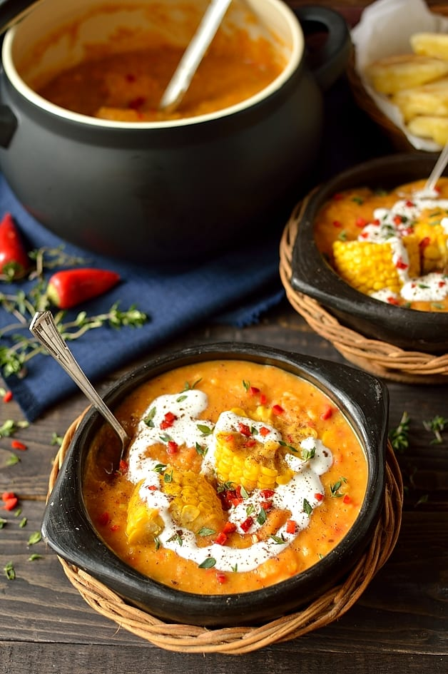 Creamy, spiced yellow split pea and sweetcorn soup with cheese stuffed arepas