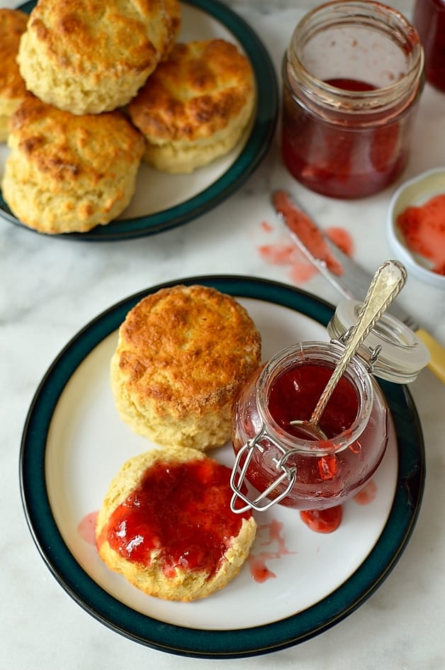 Fresh, zingy strawberry lime jam and quick, easy basic scones