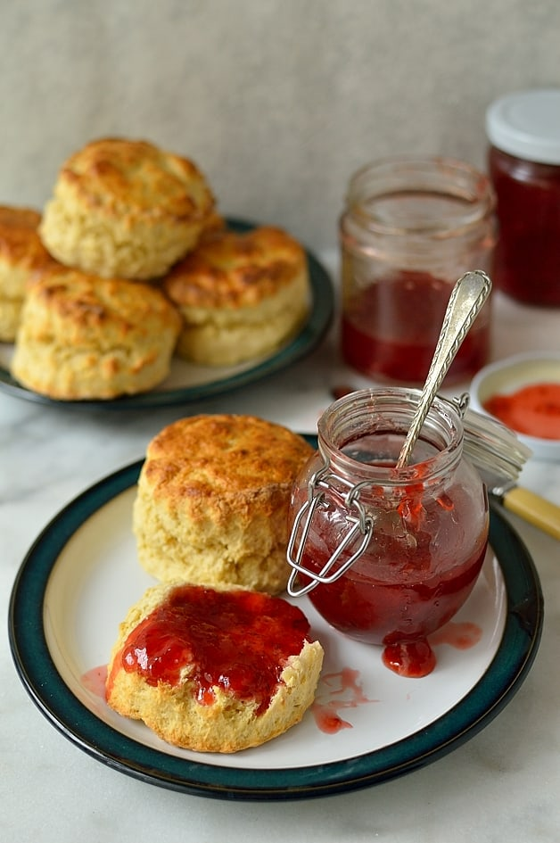 Strawberry lime jam and quick, easy basic scones recipes