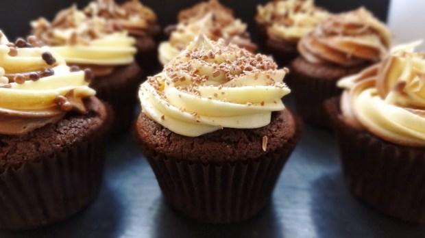 triple chocolate cupcakes, swiss meringue buttercream